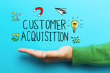 Customer Acquisition concept with hand