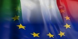 3d rendering EU and Italy flag