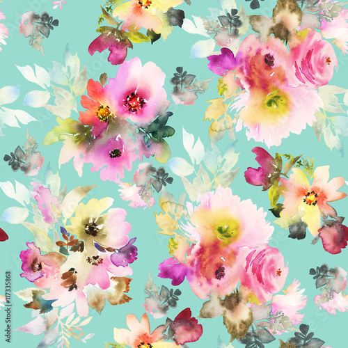 Cotton fabric Seamless pattern with flowers watercolor