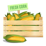 Fresh corn in a wooden box on a white background. Vector icon.