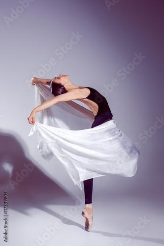 Naklejka Ballerina in black outfit posing on toes, studio background.