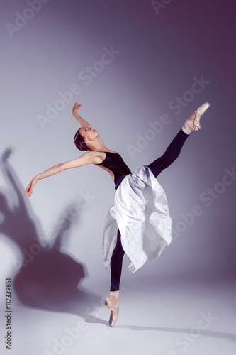 Ballerina in black outfit posing on toes, studio background. Plakát