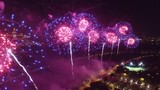 Great firework show in Moscow Russia near MSU Moscow State University. Unique close aerial view, flight inside, quadcopter drone footage. Beautiful colors from above. 4K footage.