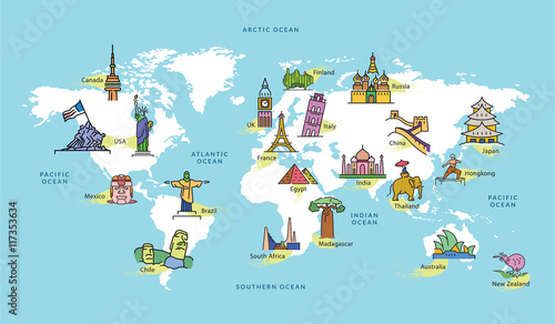 Fototapety, obrazy : World Map with Famous Country Landmark Symbol