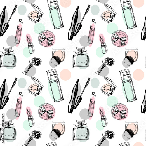 Cotton fabric Fashionable seamless pattern with a beautiful perfume, mascara, keys, powder puff, blush. Cosmetics and fashion background. Vector illustration.
