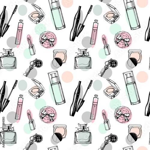 Materiał do szycia Modny wzór z piękne perfumy, tusz do rzęs, klucze, puff proszku blush. Kosmetyki i tle moda. Ilustracja wektorowa.