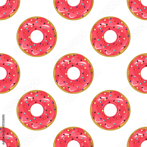 Cotton fabric Cute donuts with colorful glazing seamless pattern vector.
