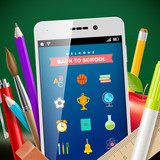 Back to school - vector illustration with smartphone and stationery items