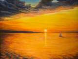 Sunset on the lake. Sailing yacht sailing on calm water .Painting - 117369042