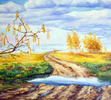 Painting. Landscape with four seasons. Allegory of life and time - 117372072