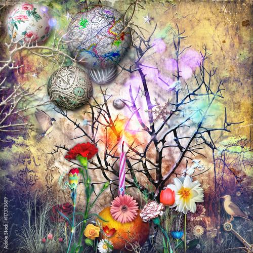 Bosco delle fiabe con stelle,fiocchi di neve e magici fiori fantastici e tropicali