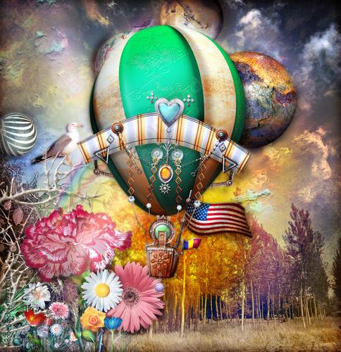 Giardino dell'eden con mongolfiera steampunk e fiori fiabeschi