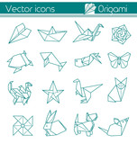 the animal origami, paper folding, Vector icons.