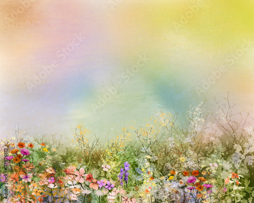 Fototapeta Abstract oil painting flowers plant. Purple cosmos, white daisy, cornflower, wildflower, dandelion flower in fields. Hand painted floral meadow and yellow background. Spring flower nature background