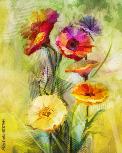 Obraz Watercolor painting flowers. Hand paint still life bouquet of yellow ,orange, white gerbera flowers on grunge textures background. Vintage painting style. Spring flower nature background