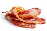 Three strips of fried crispy bacon isolated on white. - 117385244