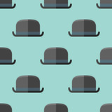Seamless pattern with bowler hat. Vector texture.