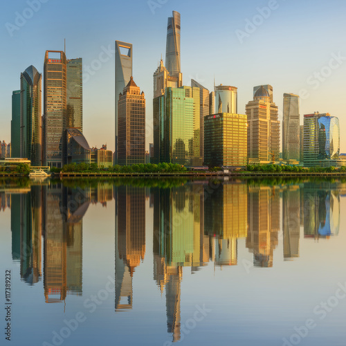 Plakát, Obraz Cityscape of Shanghai and Huangpu River on sunset, beautiful reflection on skysc