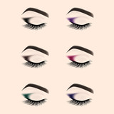 Set of eye makeup. Closed eye with long eyelashes. Vector illustration.