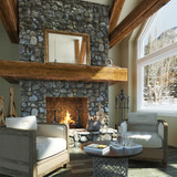 Fototapety Luxurious open floor cabin interior design with roaring fireplace and winter scenic background. Photo realistic 3d rendering