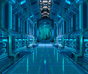 3d illustration of sci-fi corridor interior