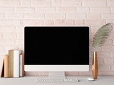 Mock up PC Screen, rose brick background, 3d rendering
