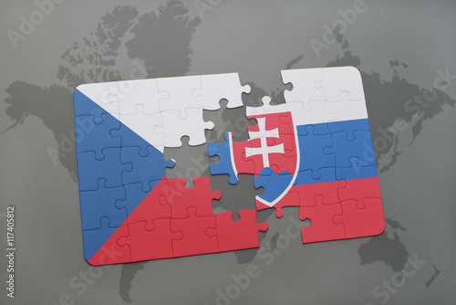 Poster puzzle with the national flag of czech republic and slovakia on a world map background
