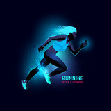 Neon glowing backlit silhouette of a woman running - vector illustration