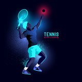 Neon glowing backlit silhouette of professional tennis player about to serve - vector illustration