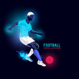 Neon glowing backlit silhouette of a football player - vector illustration