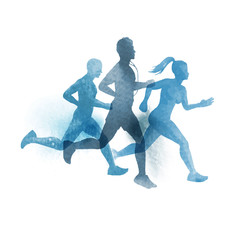 A team of active runners. Watercolour vector illustration.