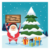 Merry Christmas concept represented by santa cartoon and pine tree icon over landscape. Colorfull and classic illustration inside frame.