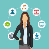 businesswoman music download bubble social media human resources business icon. Colorfull and flat illustration. Vector graphic