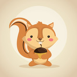 Woodland animal concept represented by cute squirrel cartoon icon. Colorfull and flat illustration.