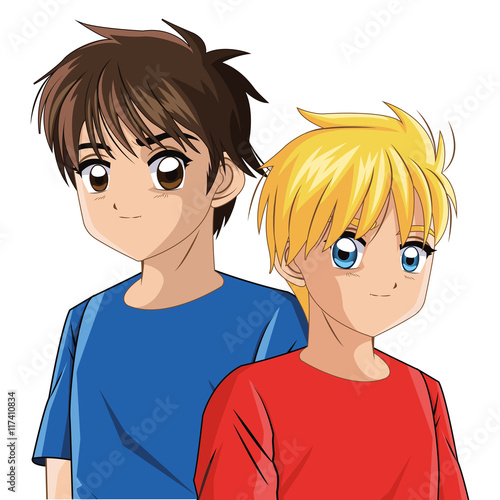 Boy anime male manga cartoon comic icon. Colorfull and isolated illustration. Vector graphic - 117410834