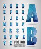 Polygon alphabet font style font with shadow, Low Poly Font