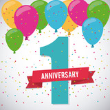 Celebrating Anniversary concept represented by 1 year number icon. Colorfull and flat illustration.