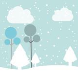 winter pineforest landscape icon