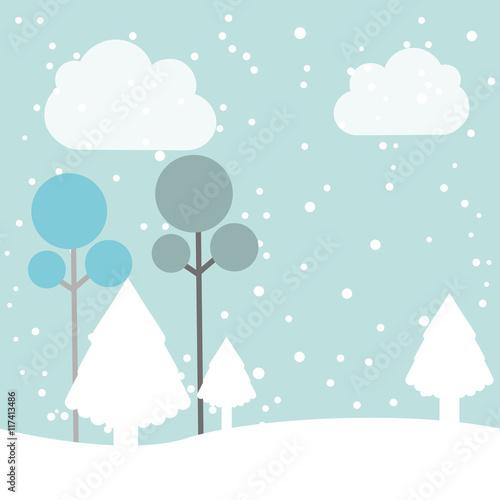 Fotobehang Lichtblauw winter pineforest landscape icon