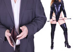Man and sexy dominatrix holding riding crop, isolated on white background.
