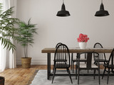 Interior of dining area with a large wooden table and black chai - 117421457