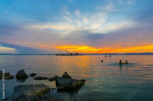 Sunset at the Golden Beach Poster