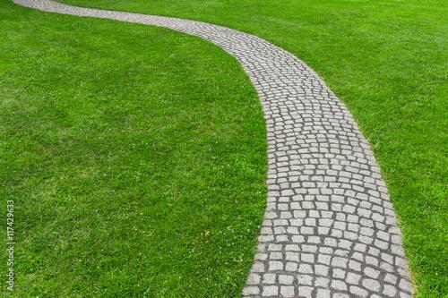 Rasen mit gepflastertem Gartenweg - Lawn with paved garden path Poster