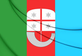 Flag of Liguria Region, Italy. 3D Illustration.
