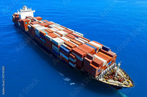 Large container ship at sea - Aerial photo