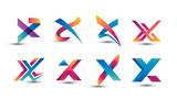 Fototapety Abstract Colorful X Logo - Set of Letter X Logo