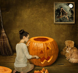 A girl with her cat is preparing for the holiday Halloween.
