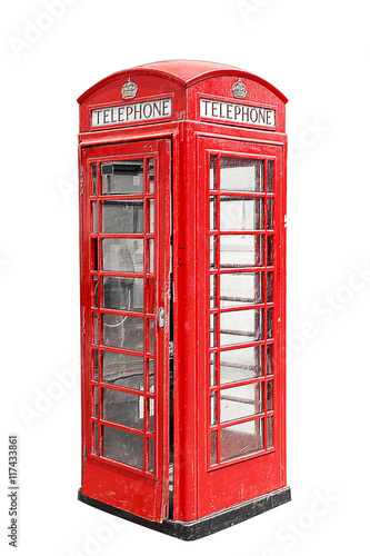 Classic British red phone booth in London UK, isolated on white Poster