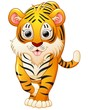 Cute tiger cartoon isolated on white background - 117434878