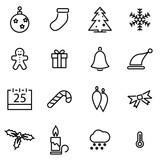 Vector line christmas icon set
